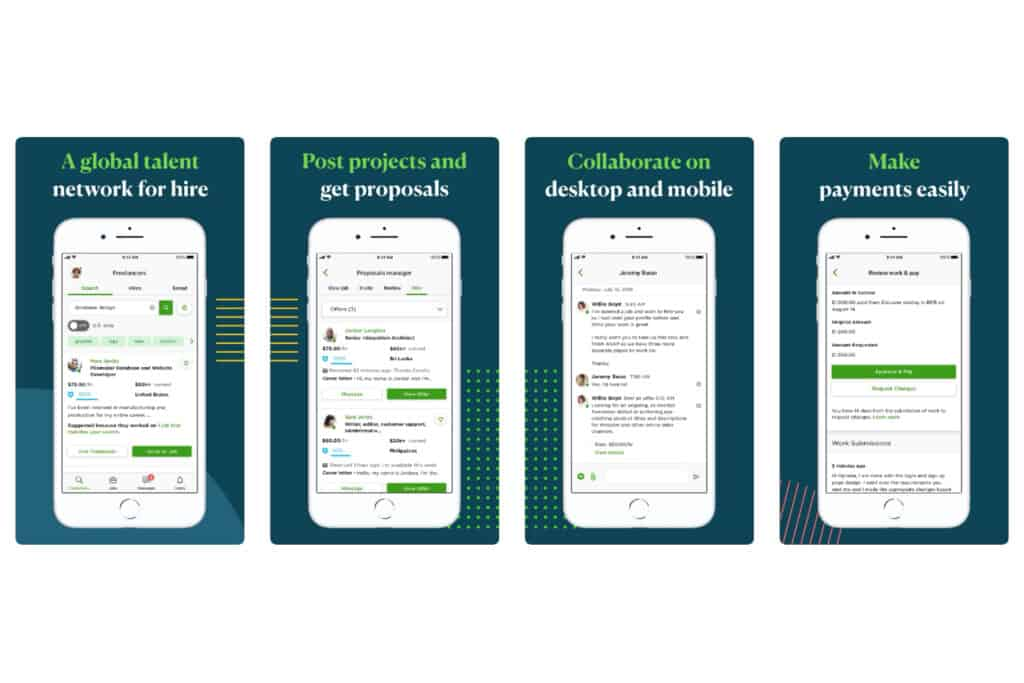 UpWork For Clients Mobile App Screens